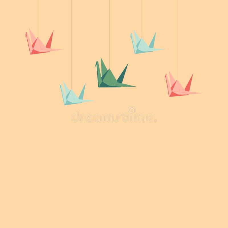 Set papierowi żurawie royalty ilustracja