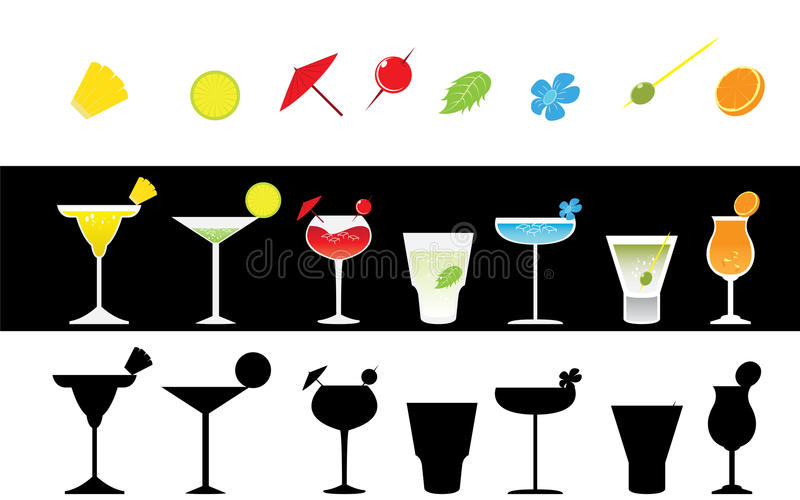 Set of Paradise Colorful Cocktails Party royalty free illustration