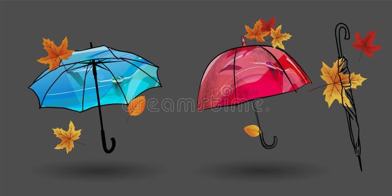 Set parasoli nakreślenia Doodle parasoli wektoru stylowe ilustracje Wektorowi parasole odizolowywający na popielatym tle Pociągan ilustracja wektor