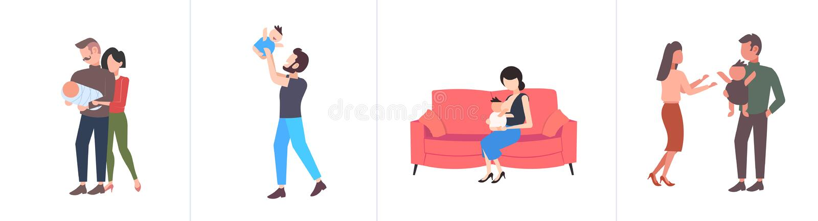 Set parents and their newborn having fun together different parenthood concepts collection flat full length horizontal. Vector illustration stock illustration