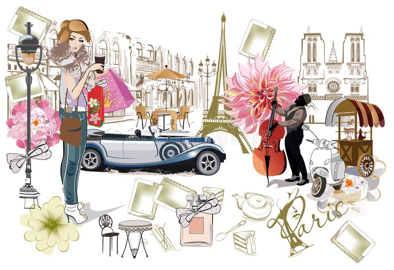 Set of Paris illustrations with fashion girls, cafes and musicians. stock illustration