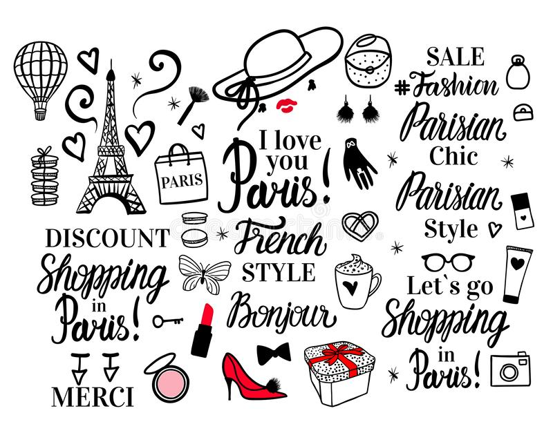 Set Paris lettering type. French Style woman Fashion black illustration woman. Vector hand sketch. Clothing, hat, shoes. Gloves, package shopping, glasses royalty free illustration