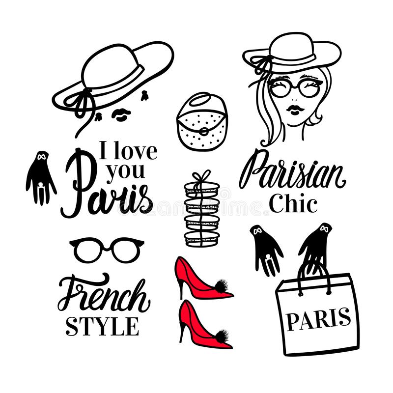 Set Paris lettering type. French Style woman Fashion black illustration woman. Vector hand sketch. Clothing, hat, shoes vector illustration