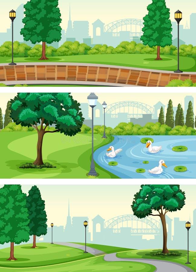 Set of park scene royalty free illustration