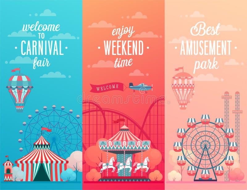 Set parka rozrywki krajobrazu sztandary z carousels, ilustracja wektor