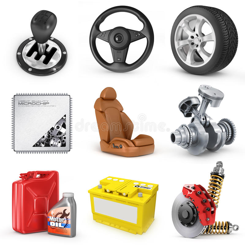 Set of parts of car. 3d render icons. royalty free illustration