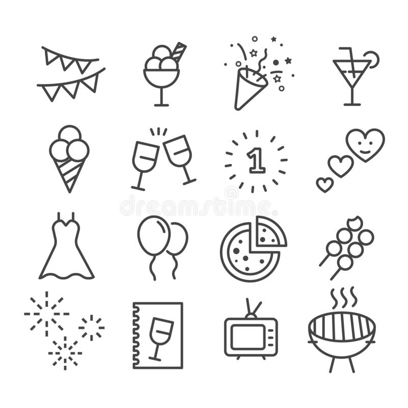 Set of party icon vector illustration isolated modern outline on white background vector illustration