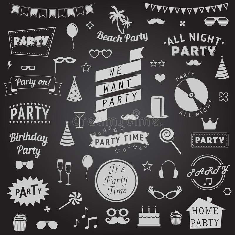 Set of party icons vector illustration