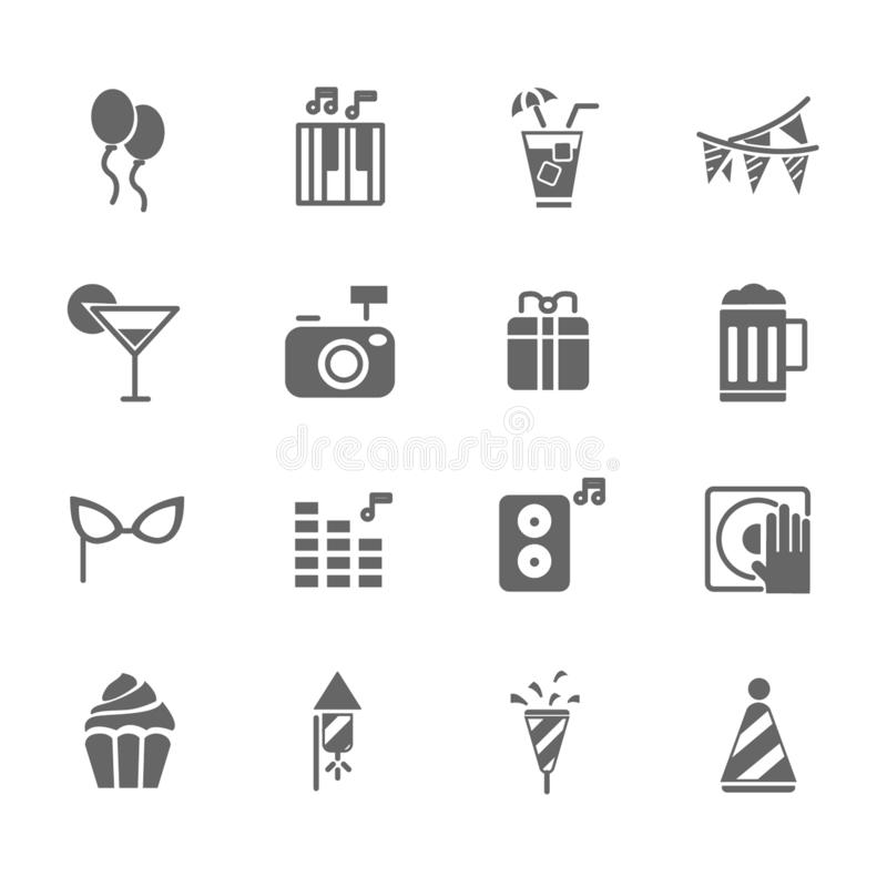 Set of Party Vector Icons. Includes gift, music, cake, cocktail and more. Set of Party Vector Icons. Includes gift, music, cake, cocktail vector illustration