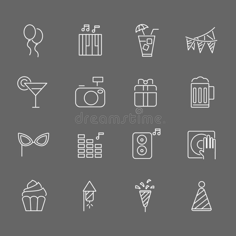 Set of Party Vector Line Icons. Includes gift, music, cake, cocktail and more. In gray background. Set of Party Vector Line Icons. Includes gift, music, cake royalty free illustration