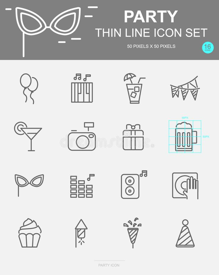Set of Party Vector Line Icons. Includes gift, music, cake, cocktail and more. 50 x 50 Pixel. Set of Party Vector Line Icons. Includes gift, music, cake vector illustration
