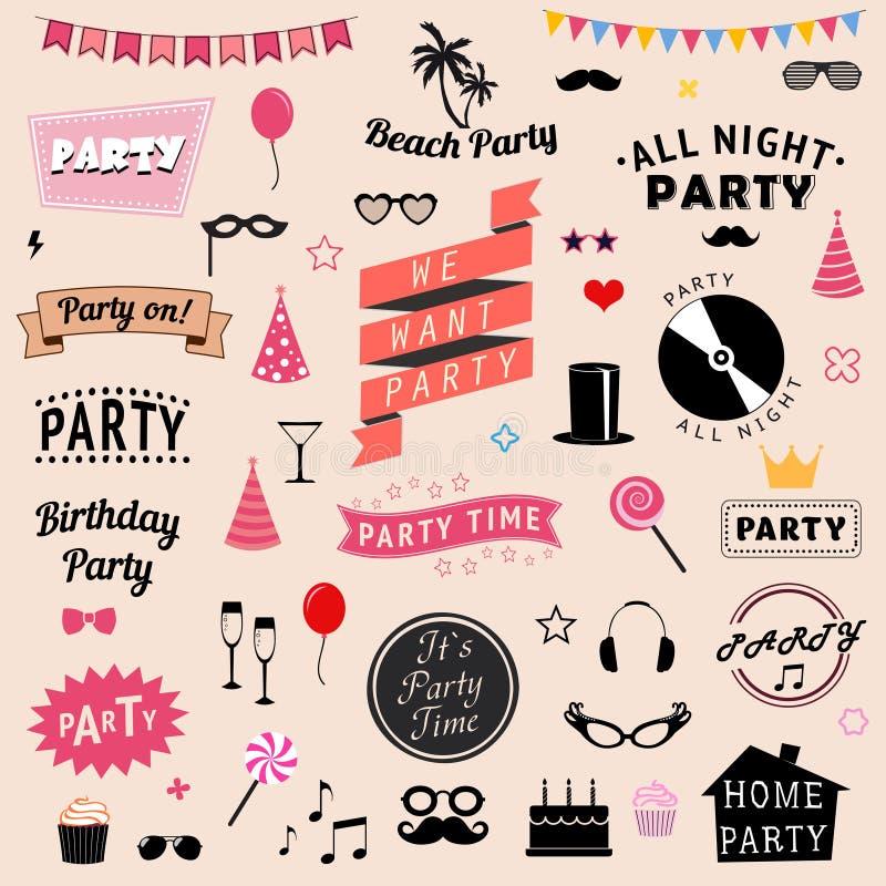 Set partyjne ikony ilustracja wektor