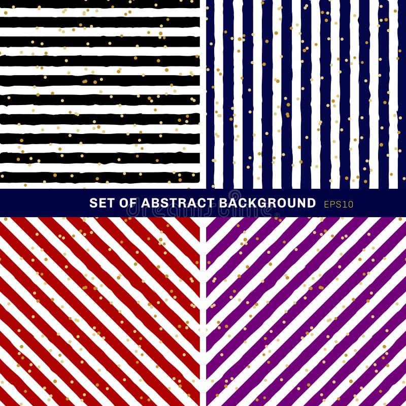 Set paskujący na modnym tle z przypadkowym złocistej folii kropek wzorem abstrakcjonistyczny czarny, błękitny, czerwony, purpurow ilustracji