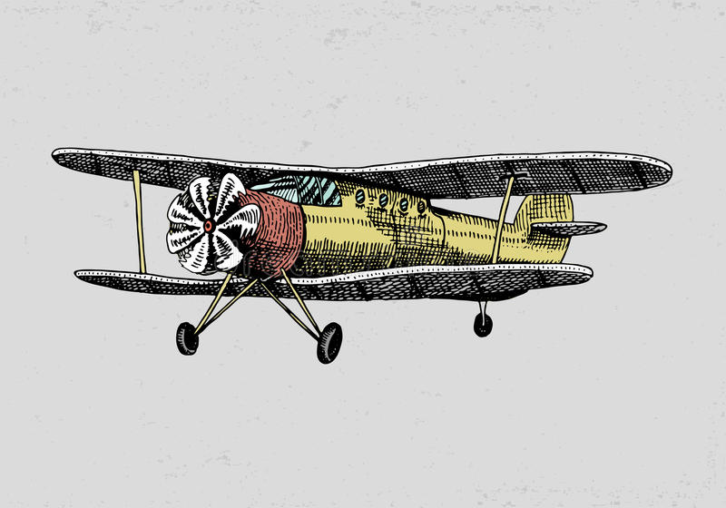 Set of passenger airplanes corncob or plane aviation travel illustration. engraved hand drawn in old sketch style vector illustration