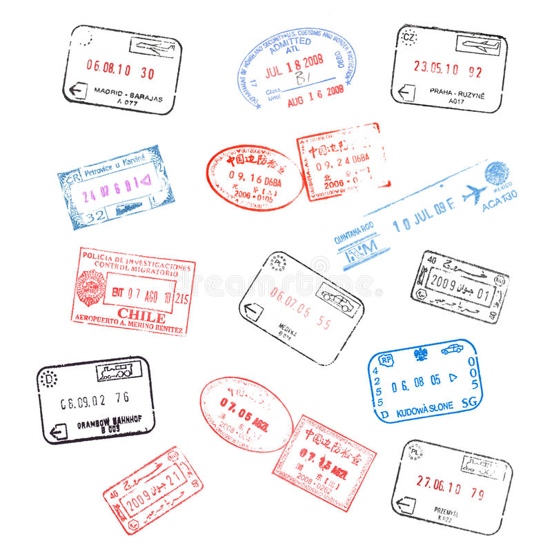 Set of passport visa stamps. Set of various passport visa stamps isolated on white background stock illustration