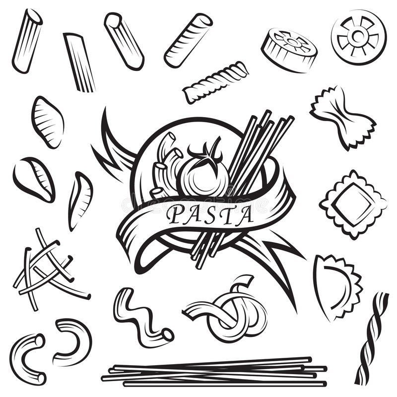Download Set of pasta stock vector. Illustration of element, carbohydrates - 25451388