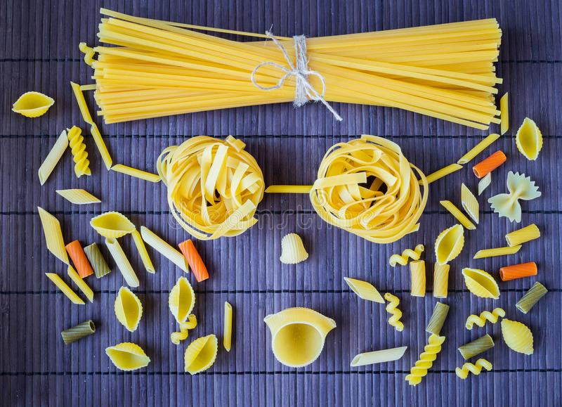 Set of pasta of various types stock images