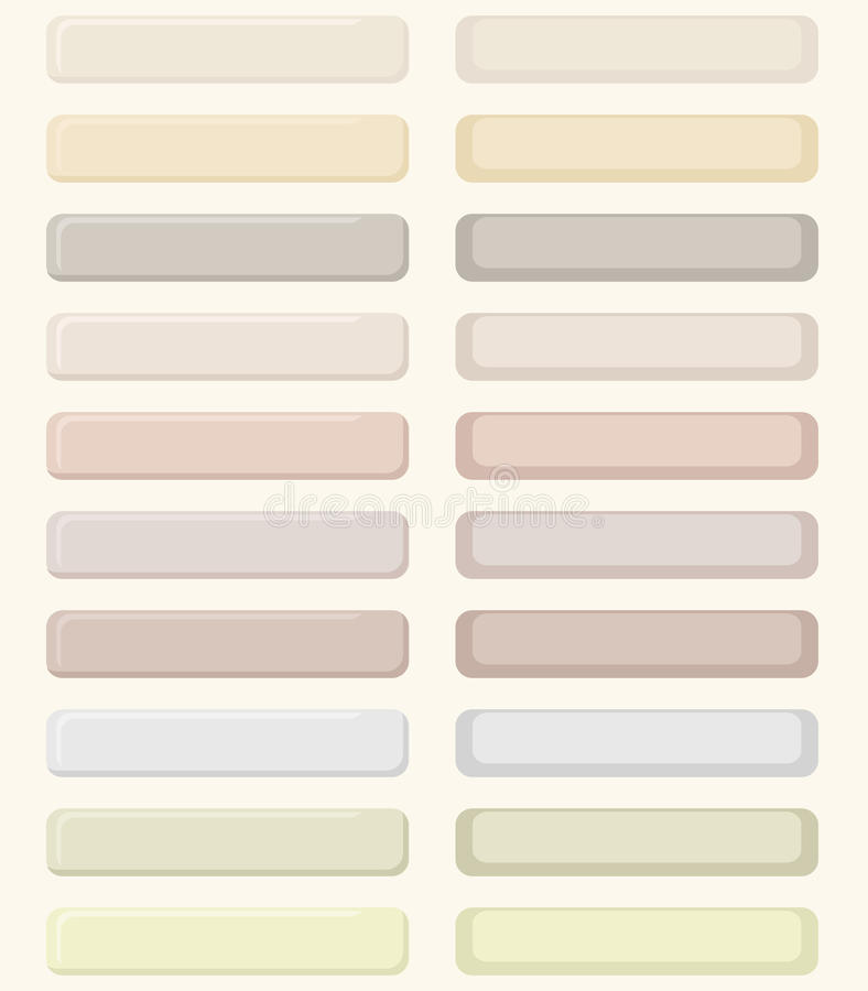 Set of pastel buttons for web design. No mesh, gradient, transparency used. Objects grouped and named in English stock illustration