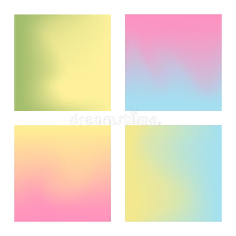 Set of pastel color gradient backgrounds. Set of pastel color gradient mesh backgrounds vector illustration