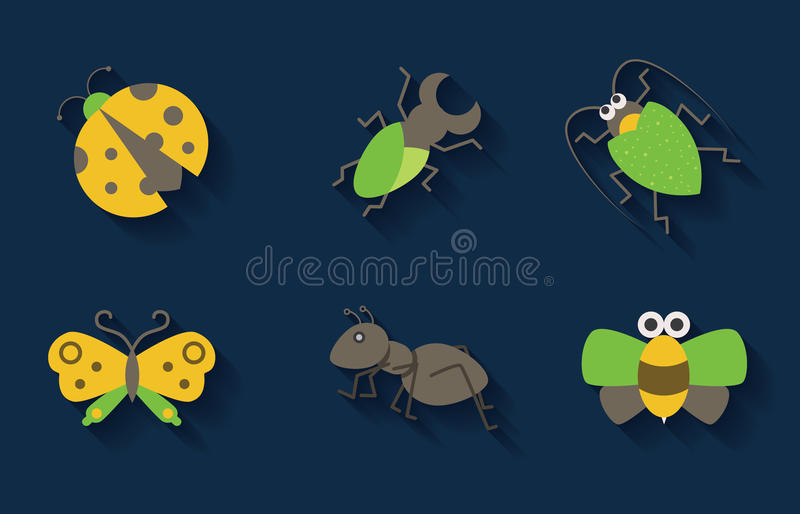 Set of pastel insect icons stock illustration