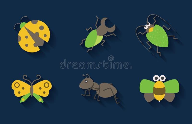 Set pastelowe insekt ikony ilustracji