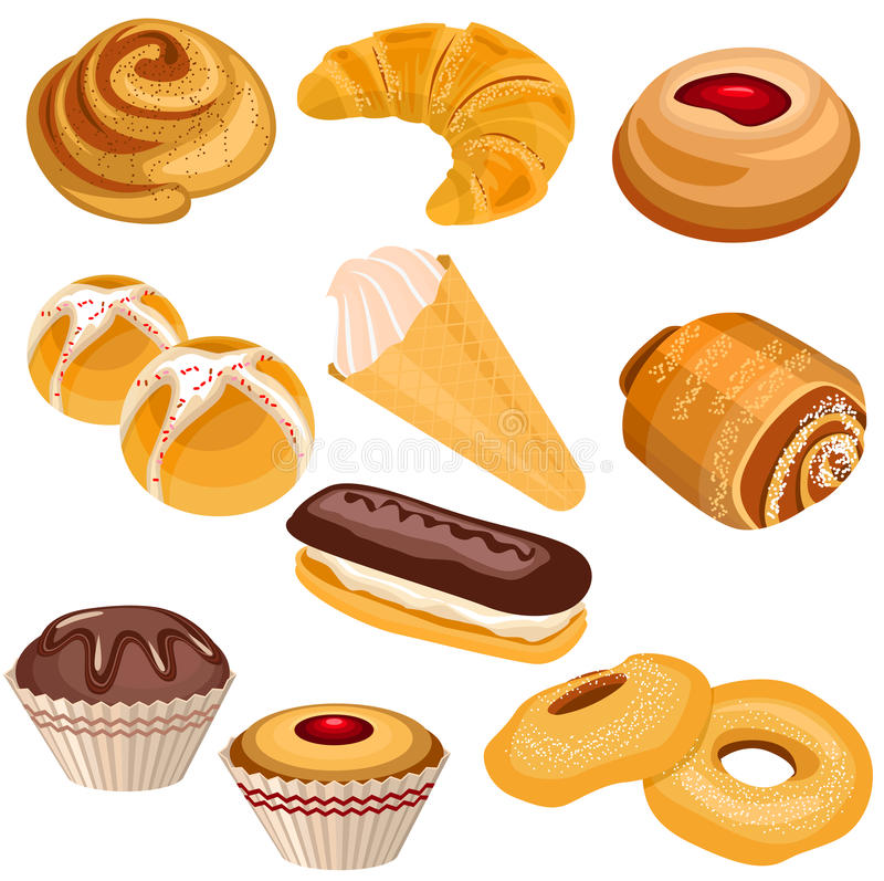 Set of pastry isolated on white vector illustration