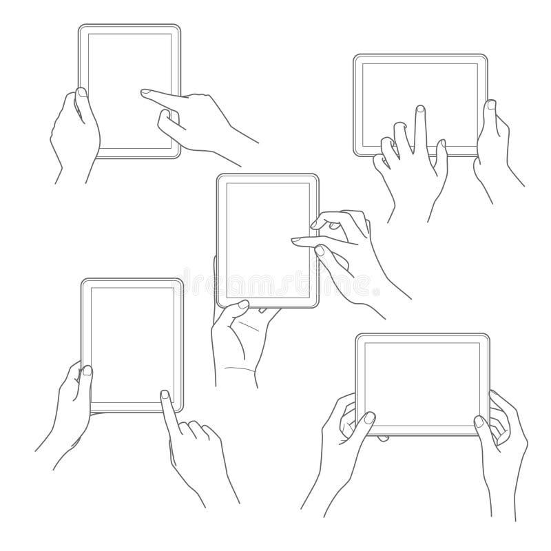 Set pastylka ekran z rękami Wektorowymi ilustracji