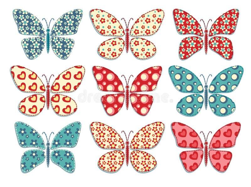 Set of patchwork butterflys 1. stock illustration