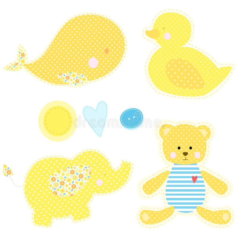 Set of patchwork cute toys royalty free illustration