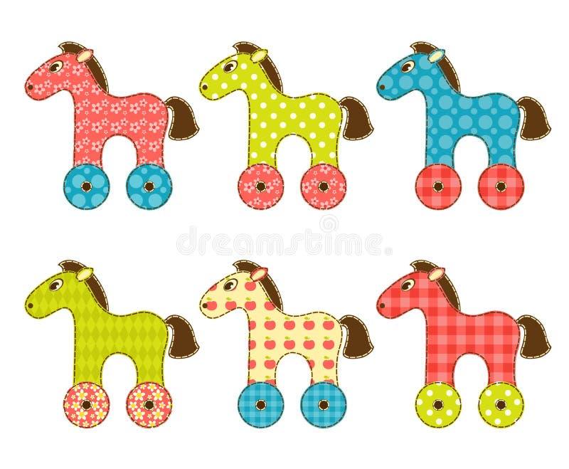 Set of patchwork horses 1. Set of patchwork horses. Isolated on white. Cartoon illustration royalty free illustration