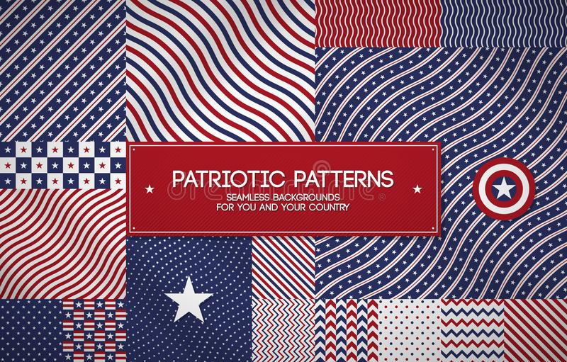Set of patriotic american patterns with stars and stripes. Can be used for Memorial day, Independence day and political events. Set of patriotic american vector illustration