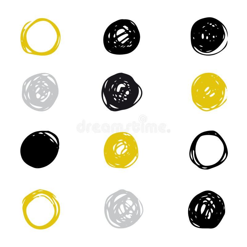 Set patroszona atrament plama Wektorowy abstrakcjonistyczny okręgu markiera element dla Twój projekta ilustracji