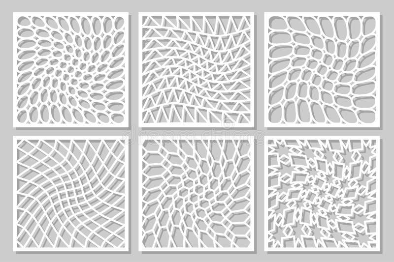 Set pattern geometric ornament. Card for laser cutting. Element decorative design. stock illustration