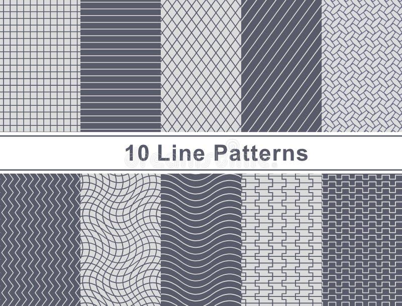Set Of Pattern In Seamless Design. stock illustration