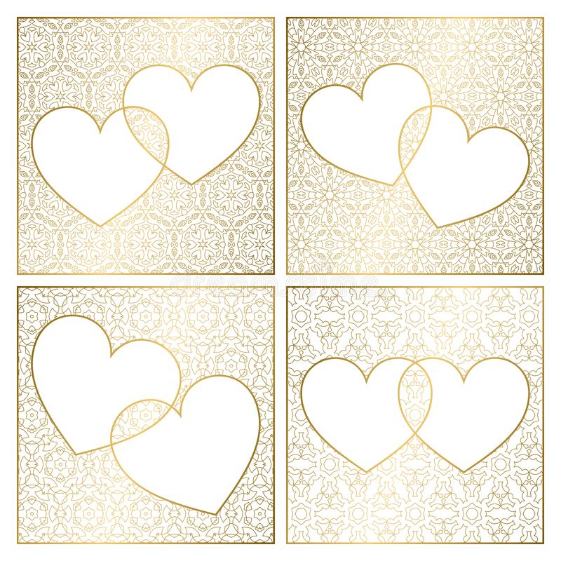 Set of patterned background decorations. Golden cover templates for greeting cards. Frames of hearts for Valentines Day stock illustration