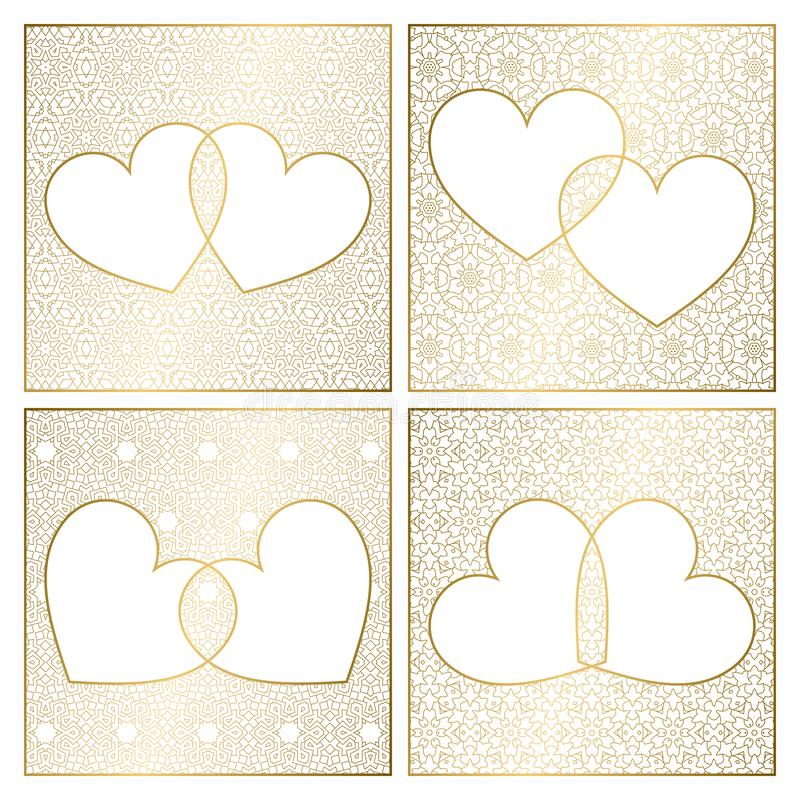 Set of patterned background decorations. Golden cover templates for greeting cards. Frames of hearts for Valentines Day vector illustration