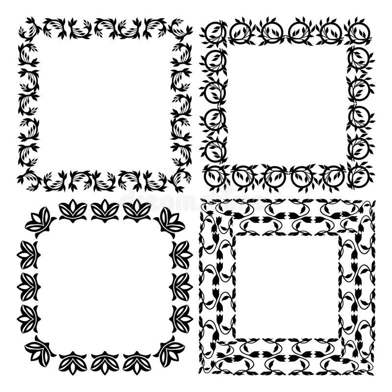 A Set Of Patterned Frames. On White Background Stock Vector ...