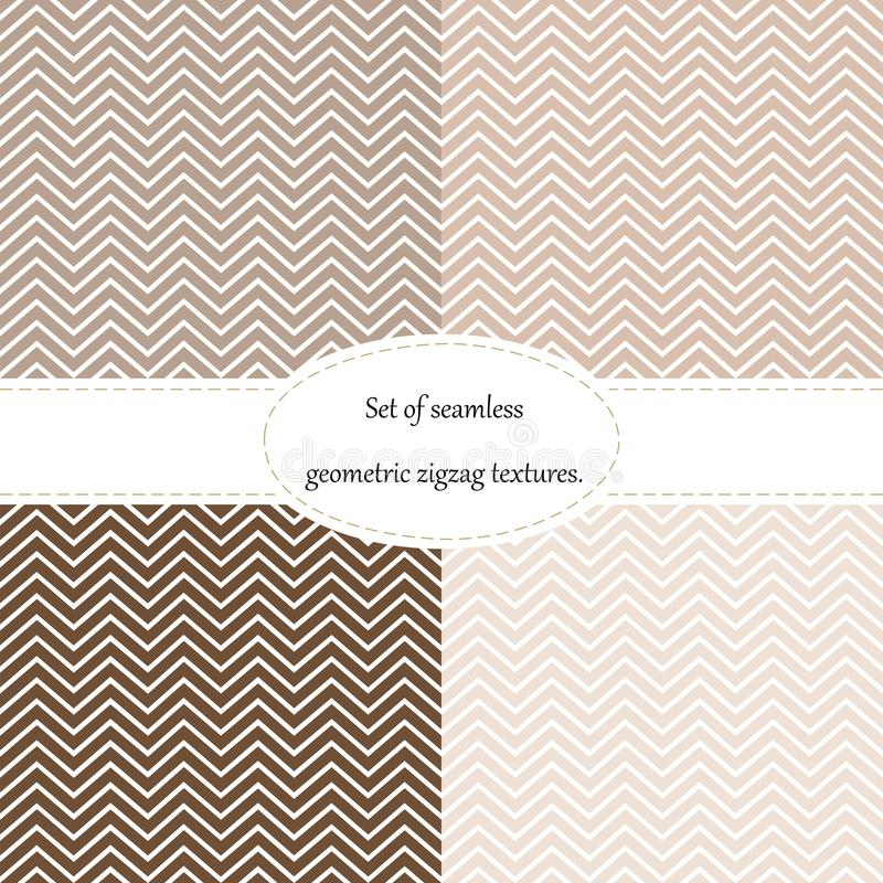 Set of 4 patterns,chevron, seamless, geometric, zig-zag texture of brown, from beige to chocolate. vector illustration