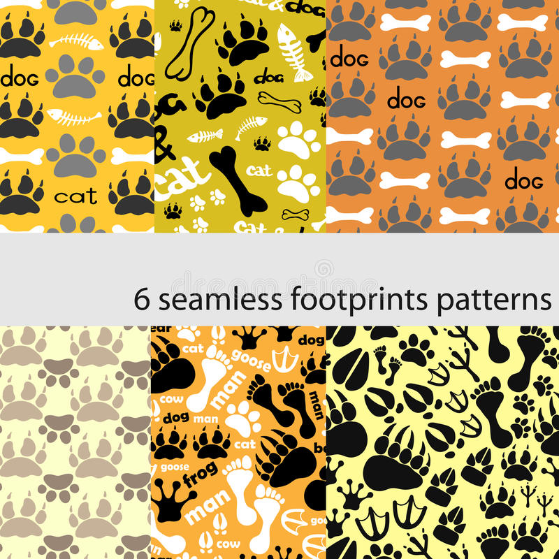 Set of patterns with footprints and bones stock photography
