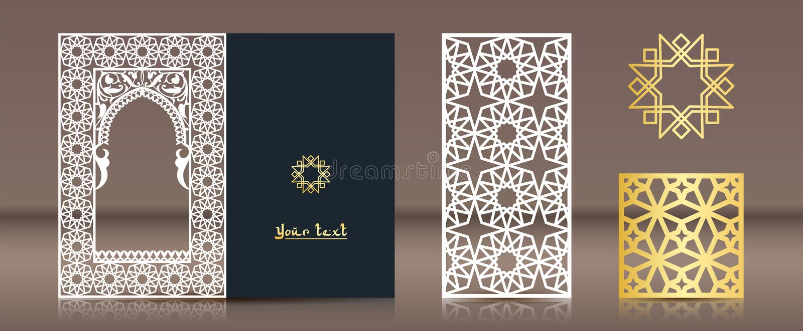 A set of patterns for laser cutting. Postcard, bookmark, gold medallion in oriental traditional style. Elements of vector illustration