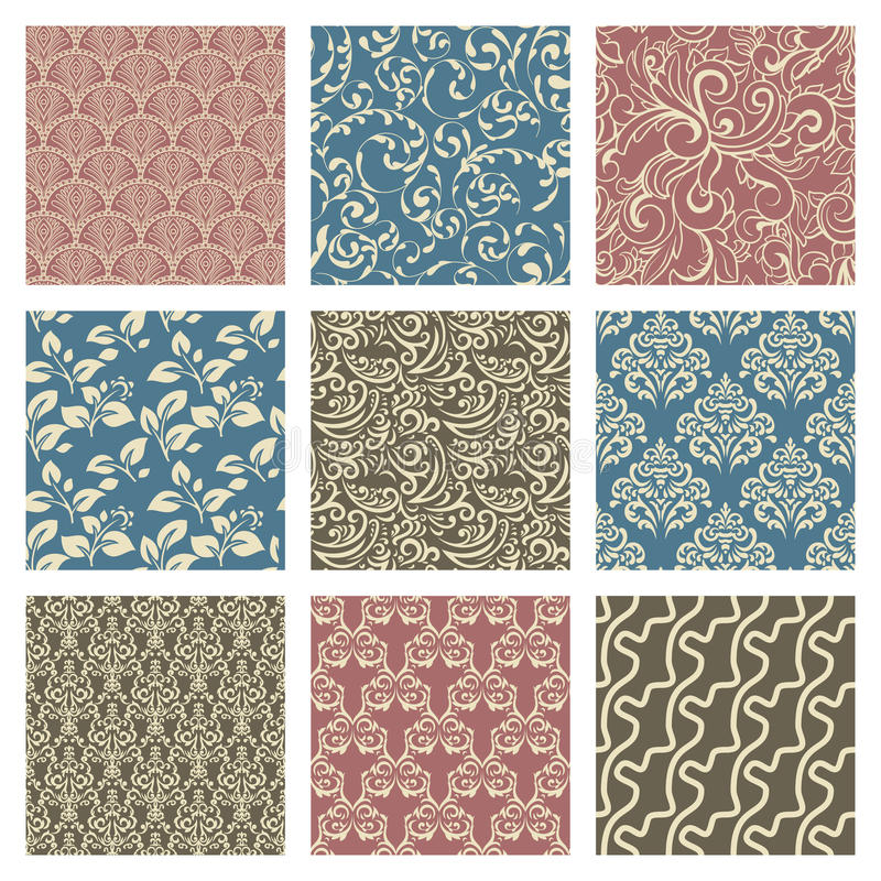 Download Set Of Patterns stock vector. Image of continuity, damask - 33045941