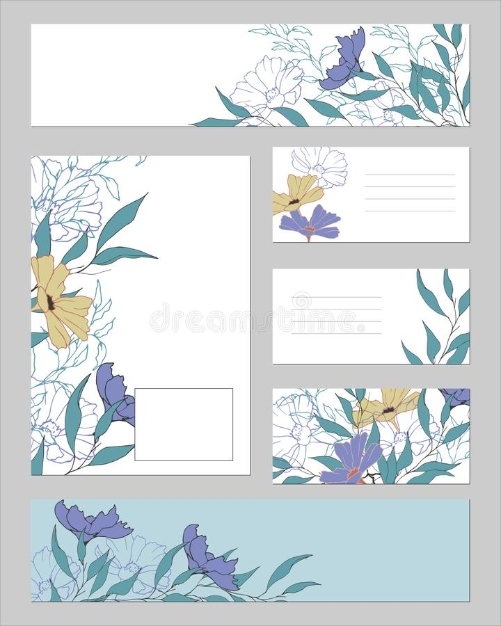 Set of patterns for text with a floral pattern on a white and blue background. Drawn vintage flowers for business cards, bookmarks vector illustration