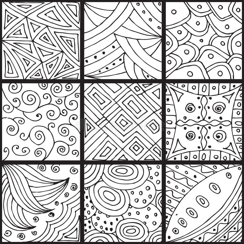 Set of patterns, zentangle stock illustration