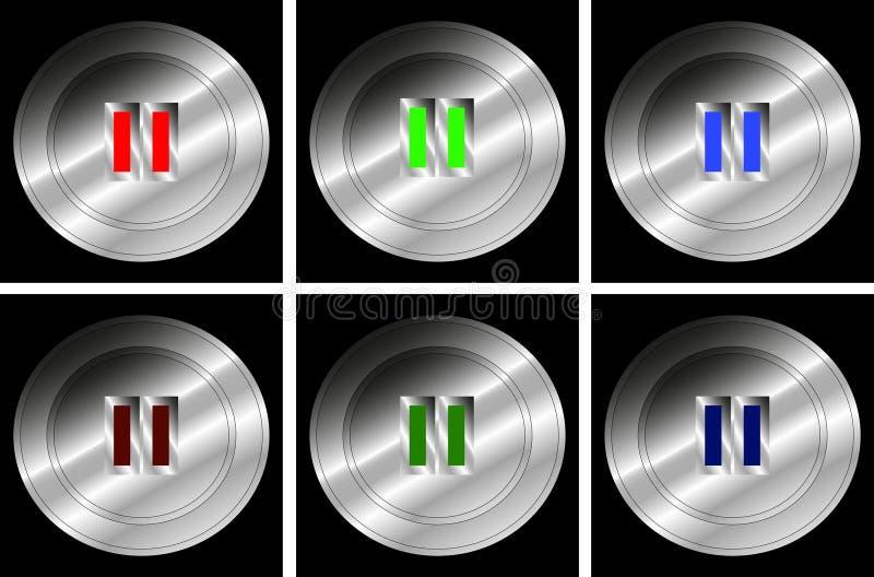 Set pchnięcie guziki dla fermaty - wektor ilustracji