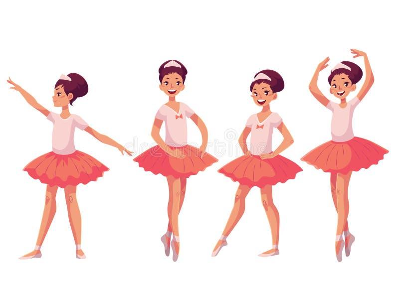 Set pełen wdzięku ładne młode baleriny w różowej spódniczce baletnicy royalty ilustracja