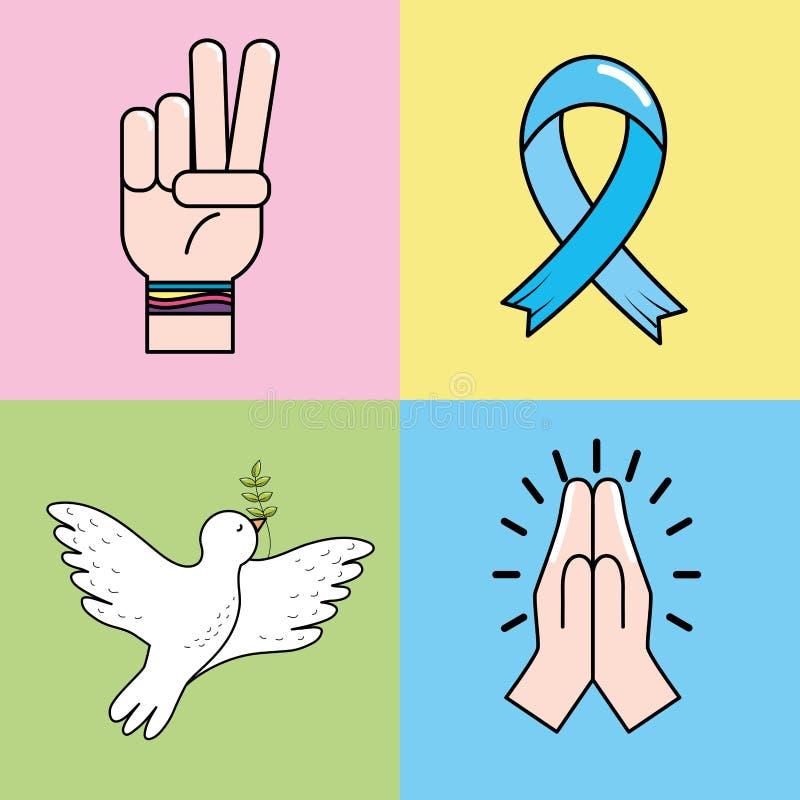 Set Peace Hand Symbol To Global Harmony Stock Vector Illustration