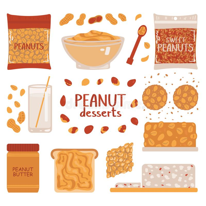 Set of peanuts on a white background. Collection of peanut desserts. Vector illustration in freehand drawing style stock illustration