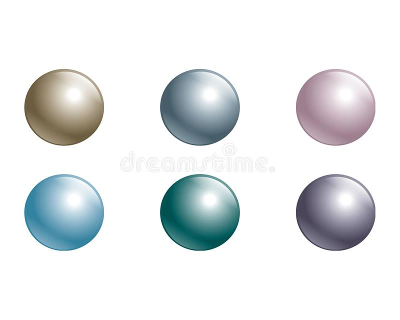 Set of pearls in different colors stock illustration