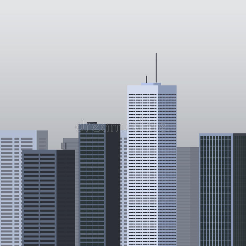 Set pejzażu miejskiego tło nowoczesna architektura miejski krajobrazu Kwadratowy sztandar z megapolis panoramą Budynek ikony ilustracja wektor