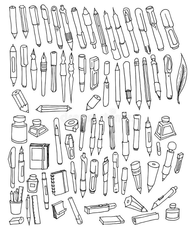 Set of Pen Drawing illustration Hand drawn doodle Sketch line vector eps10. Set of Pen Drawing illustration Hand drawn doodle Sketch line vector vector illustration